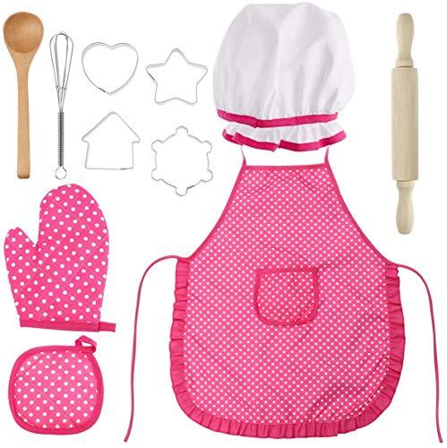 FENG Kinderschürze und Backset, Kochset für Kinder 11 Teiliges Küchenkostüm Rollenspiele mit Schürze, Kochmütze, Handschuh Utensil und Ausstecher für Kinder (rot)