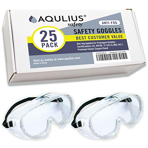 25 Pack of Safety Goggles (25 Pack Protective Goggles) Crystal Clear Eye Protection - Perfect for Construction, Shooting, Lab Work, and More!