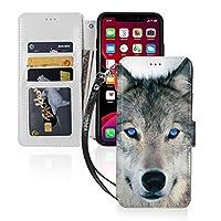 Iphone 11 ケース 青い目をしたオオカミ 手帳型 アイフォン 11 Caseカード入れ 収納 財布型 内蔵マグネット カバー かわいい 人気 Iphone 11 スマホケース の男と女 携帯 ケース カバー 擦り傷防止, 高級感, 高耐久, ファッション かわいい Phone Case