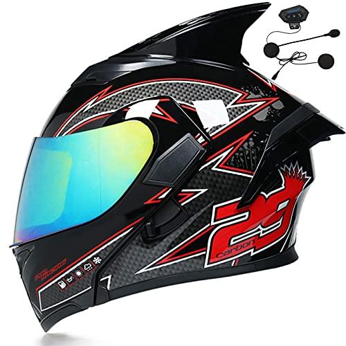Modular de cara completa abatible para motocicleta Bluetooth con auriculares Bluetooth Casco de motocicleta ECE 22-05 Aprobado Unión Europea con micrófono hombre y mujere,1,S 55~56cm