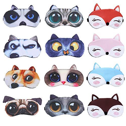 EBaokuup 12 Pack Animal Sleep Eye Mask - Soft Funny Blindfolds Sleeping Mask, Cute Cat Dog Eye Cover Eye Shade for Kids Girls Men Women Plane Travel Nap Night Sleeping