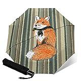 Fox On Desert Stripes - Paraguas plegable automático de tres pliegues, paraguas compacto ligero para sol y lluvia