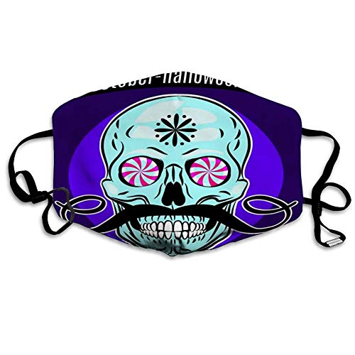 Gezichtsmasker Mundabdeck, Halloween Party Ontwerp Flyer Grappige schedel