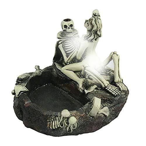 Cenicero de resina con cabeza de esqueleto, cenicero, diseño de calavera fantasma y belleza