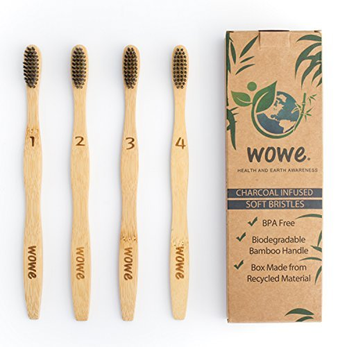 Wowe Lifestyle Natural Organic Bamboo Toothbrush Eco-Friendly Wood, Ergonomic Biodegradable Handle,...