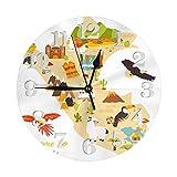 GOSMAO Reloj de Pared Redondo, Mapa turístico de Perú, Reloj de decoración del hogar para Sala de Estar, Dormitorio, Oficina