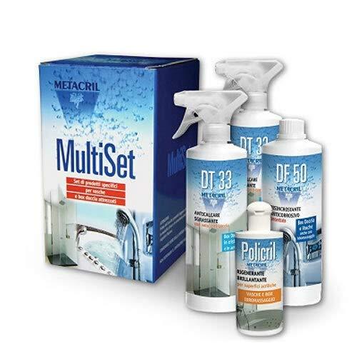 Metacril Juego completo de mantenimiento de cabina Boca. Ideal para cabina de ducha de todas las marcas (Teuco, Albatros, Novellini, Glass, Hafro, etc. Envío inmediato.