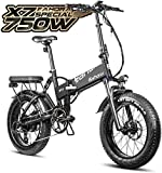 eAhora X7 Special 750W Fat Tires 48V 14Ah Folding Electric Bikes for Adults Dual Hydraulic Brakes Electric Bicycles Commuting Ebikes Full Suspension Cruise Control, Color Screen, 8 Speed