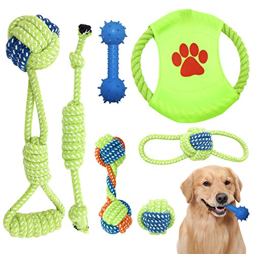Giochi per Cani, 7 pezzi Cane Resistenti Giochi di Giocattoli da Masticare per Cani di Piccola Taglia e Cuccioli, 100% Cotone Naturale Corda verde