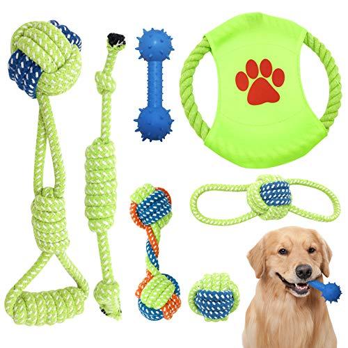 AidSci 7-teiliges Hundespielzeug-Set, Plüschtiere für Haustiere, aus natürlicher Baumwolle, ungiftig, geruchlos, langlebig, für die Reinigung von Zähnen, Welpen und mittelgroße Hundespielzeug-Sets
