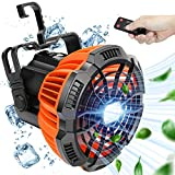 Camping Fan with LED Light – Portable Camping Lantern Fan with Hanging Hook For Tent,Rechargeable 5200mAh Battery Operated, USB Charging Input Fan With Remote for Outdoor, Home, Office