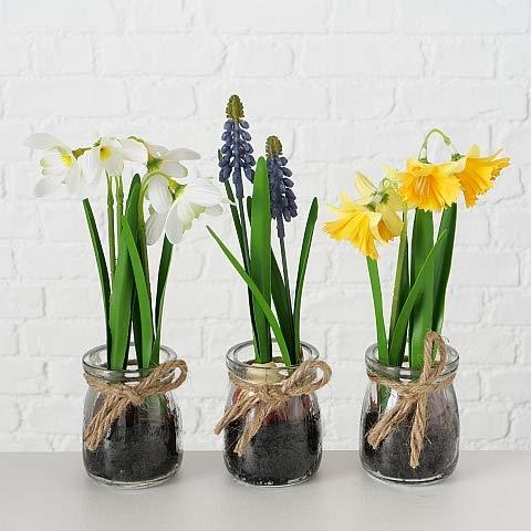 LB H&F 3er Set künstliche Pflanzen Frühlingsblüher Kunstpflanze als Dekopflanze mit Glastopf Deko (Frühling Set)