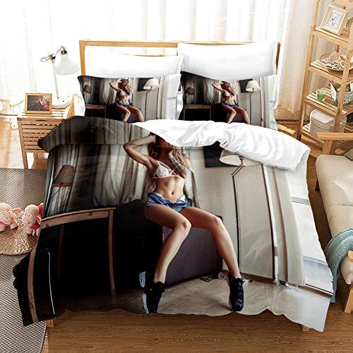 GVJKCZ Fundas nordicas 3D Chica Sexy Blanca Gris Juego de Cama 140x200cm Bedding Juego de Ropa de Cama para Niños - 100% Microfibra (1 Funda Nórdica + 2 Funda de Almohada)