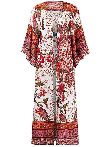 Geagodelia Cardigan Largo Pareos para Mujer Bikini Cubrir de Playa Kimono Cabo Suelto con Estampados de Flor Chal de Verano Protector Solar Traje de Baño Ropa de Playa (Rojo, M)