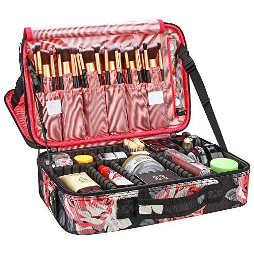 Relavel Makeup Bag Large Makeup Organizer Bag Travel Train Case Portable Cosmetic Artist Storage Bag with Adjustable Dividers for Cosmetics Makeup Brushes (Peony Pattern)