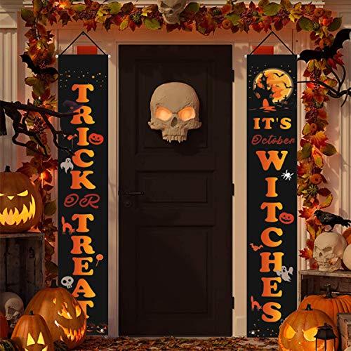 Jinlaili Trick Or Treat Halloween Decorazione Porta, Halloween Banner da Appendere Dolcetto o Scherzetto per Decorazioni Esterna Halloween della Porta d'ingresso del Portico all'aperto