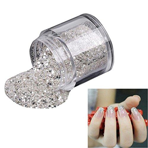 Hunpta 10 g/Box Doré Sliver ongles Poudre de paillettes en brillant à ongles Miroir Poudre