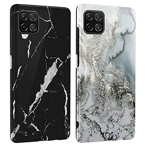 DREKEMU 2 Fundas para Samsung Galaxy A12 Funda Mármol, Carcasa Silicona Suave TPU Gel Cover Fina y Ligera, 2 Paquetes Case Patrón de Mármol para Samsung Galaxy A12, Negro y Gris