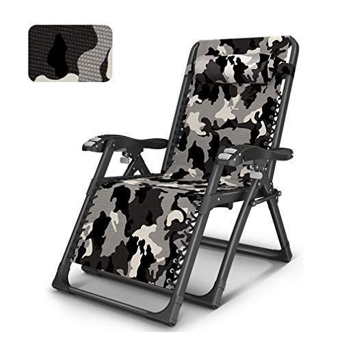 ZEIYUQI Longue Tumbona Ajustable Plegable Silla reclinable sillas de Camping Plegable Ligera en Interior y Exterior,Camo a