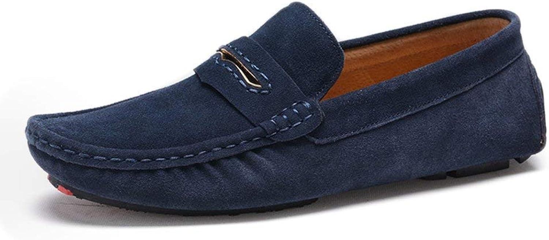 FuweiEncore 2018 Mens Moccasins shoes, Men Driving Penny Moccasins Suede Genuine Leather Soft Rubber Sole Loafers (color  Black, Size  38 EU) (color   Marine, Size   39 EU)
