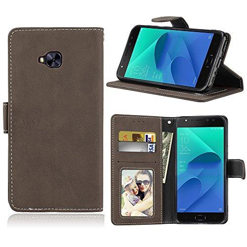 Capa para Asus Zenfone 4 Selfie Pro ZD552KL proteção de couro PU com 3 compartimentos para cartões capa flip (Marrom)