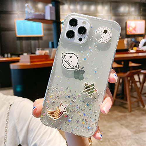 Nadoli Universo Bling Custodia per Samsung Galaxy A32 5G,Ragazze Donne Carino Bello Cristallino Trasparente Flessibile Morbido TPU Anti-Graffio Glitter Cover