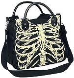 Banned Alternative Skeleton Mujer Bolsa de Mano Negro, 90% Algodón, 10% Poliuretano,
