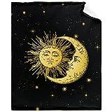 TERSTIN Boho Sun Moon and Star Throw Blanket Soft Flannel Fleece Velvet Plush Personalized Throws Fuzzy Warm Cozy Soft Bedding Blankets Anti-Pilling Kids 40' x 50'