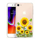 Unov Case Clear with Design Embossed Flower Pattern TPU Soft Bumper Shock Absorption Slim Protective Cover for iPhone 8 iPhone 7 4.7 Inch(Sunflower Blossom)