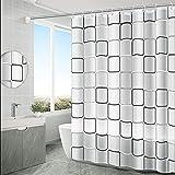 Anyingkai Duschvorhang, Anti-Schimmel Wasserdichter 180x200cm Waschbar Anti-Bakteriell Stoff Polyester Badewanne Vorhang mit 12 Duschvorhängeringen, Weiß Transparent Duschvorhang (Kariert)