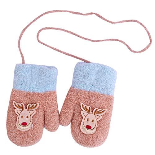 Aibrou Kinder Handschuhe Winter Fäustlinge Niedliche Cartoon Fausthandschuhe Weihnachtshandschuhe Outdoor Warm Strickhandschuh für 2-5 Jahre alt Baby