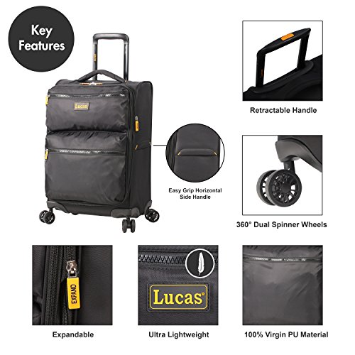 Lucas Ultra Lightweight Carry On - Softside 20 Inch Expandable Luggage - Small Rolling Bag Fits Most Airline Compartments - Durable 8-Spinner Wheels Suitcase (Black)