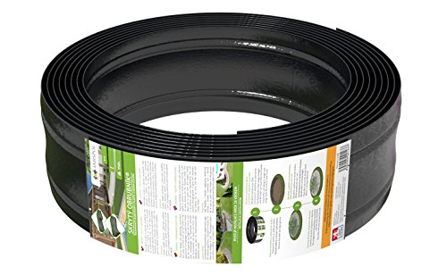 AMISPOL Elastische Rasenkante Kunststoff schwarz 8 m (125/4 mm) - Beeteinfassung Rund - Beetumrandung für Kurven - Blumenbeet Umrandung unsichtbar - Rasen und Beetbegrenzung aus stabilem Plastik