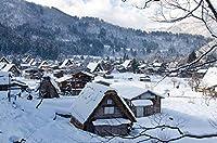 1000ピースの木製パズル-田舎のシャレーの雪景色のパターン-挑戦的なレジャーおもちゃ