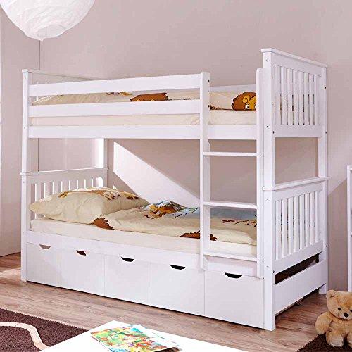 Pharao24 Kinder Etagenbett mit Schubladen Weiß Kiefer massiv