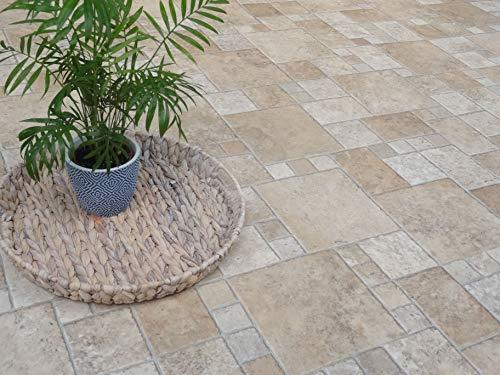 PVC Bodenbelag in mediterraner Stein Optik (9,95€/m²), Zuschnitt (2m breit, 4m lang)