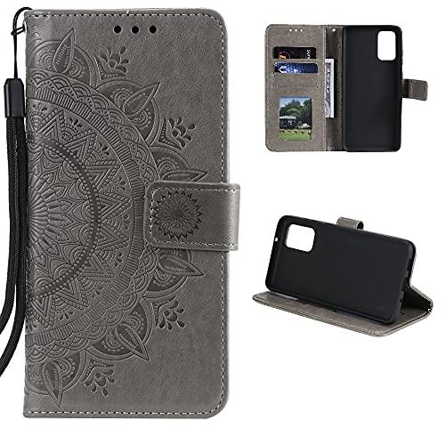 CoverKingz Handyhülle für Xiaomi Redmi Note 10 5G/Poco M3 Pro 5G/4G - Handytasche mit Kartenfach Redmi Note 10 5G/Poco M3 Pro 5G/4G Cover - Handy Hülle klappbar Motiv Mandala Grau