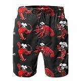 YongColer Men's Hawaiian Beach Shorts Crawfish Chef Printed Swim Trunks Quick Dry Surf Bathing Suit,M