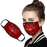 Looekveoyi 1 pieza Revestimiento facial lavable reutilizable Unisex para motocicleta Bicicleta Correr Máscara con estampado de corazón Ciclismo y actividades al aire libre