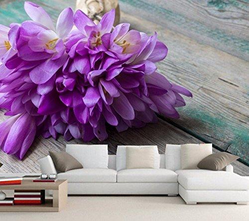 Yosot 3D Behang Krokozen Boeketten Violet Bloemen Behang, Restaurant Woonkamer Sofa Tv Muur Slaapkamer Keuken 3D Behang 300cmx210cm