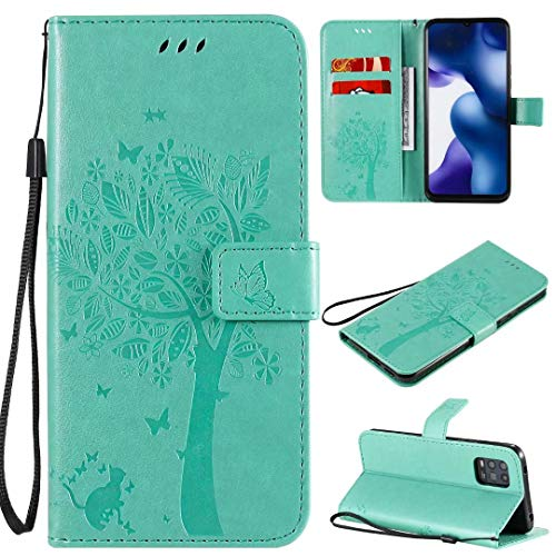 Miagon für Xiaomi Mi 10 Lite Geldbörse Wallet Case,PU Leder Baum Katze Schmetterling Flip Cover Klapphülle Tasche Schutzhülle mit Magnet Handschlaufe Strap