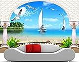 Decoración Mural De Papel Tapiz 3D Gaviota De Vela De Villa De Mar Papel Pintado Del Dormitorio Moderno Del Fondo De La Tv 3D