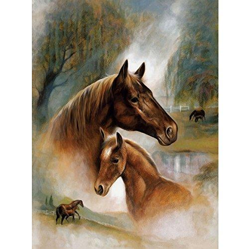 Awakingdemi 5D Diamond Painting, Wolf Pack 5 DIY Rhinestones Cross Stitch Painting Craft DIY Home Decor (Horses)
