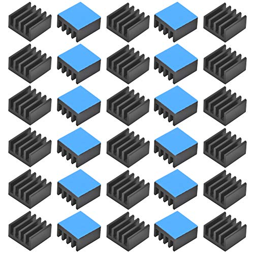 30pcs Aluminum Heatsink 8.8x8.8x5mm / 0.35x.035x0.2 inches with Thermal Conductive Adhesive Tape for Raspberry pi Electronic Chip MOS IC Diode Triode Cooling Heat Dissipation