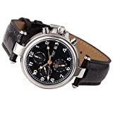 Stauer Men's Noire Stainless Steel Automatic Movement Watch with Black Leather Band