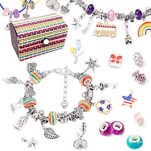 VEGCOO Jewelry Making Set for Girls, 71 Pcs Charm Bracelet Making kit, Crafts Set with Charms Pendants Necklace Rainbow Beads DIY Gifts for Kids