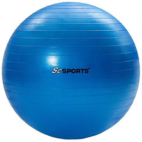 ScSPORTS Gymnastikball, Sitzball zur Entlastung der Wirbelsäule, als Yogaball geeignet, Ø 65 cm, Blau
