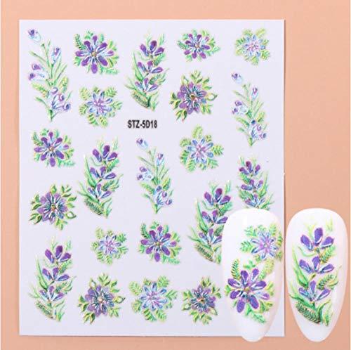 JSIYU Stickers Ongle Fleurs en Relief 3D Nail Art Autocollants Stickers Feuille Rose Curseurs Gravés Designs Feuilles Décors Acryliques-Y01