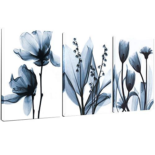 Sea Charm - Flower Canvas Wall Art Blue Elegant Transparent Flowers Canvas Print Wall Art Painting for Living Room Decor,Still Life Artwork Framed,Each Piece 16'x24'