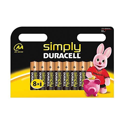 Duracell Simply Batterie Alcaline, Stilo, AA, Confezione da 8